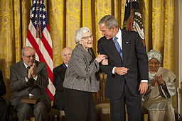 Photo of Harper Lee with President G.W. Bush