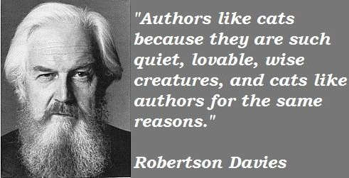 Photo of Robertson Davies with quote