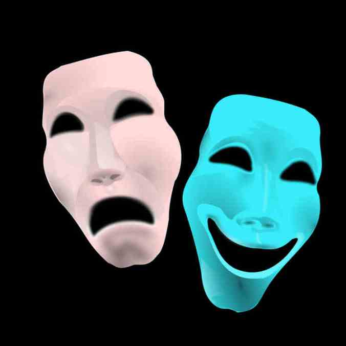 Masks portraying Greek tragedy/comedy